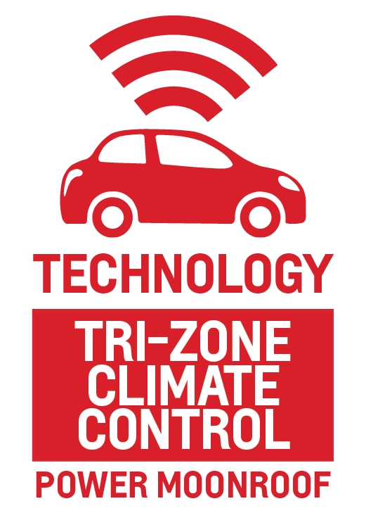 Tri-Zone Climate Control and Power Moonroof