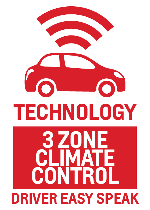 Tri-Zone Climate Control and Driver Easy Speak